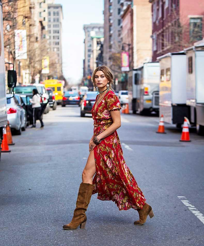 Hailey-Baldwin-Maxi-Dress-Street-Style