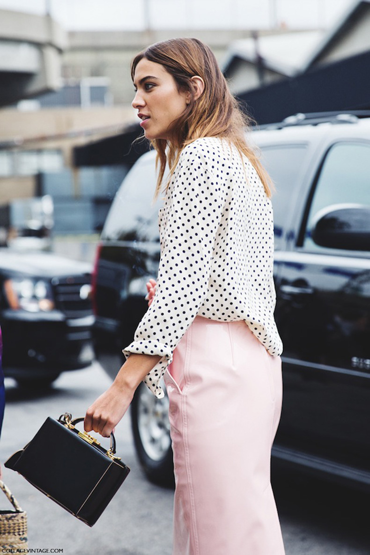 Le-Fashion-Blog-Mark-Cross-Grace-Box-Bag-Affordable-Alternative-Street-Style-Alexa-Chung-Polka-Dot-Shirt-Pink-Skirt-Collage-Vintage