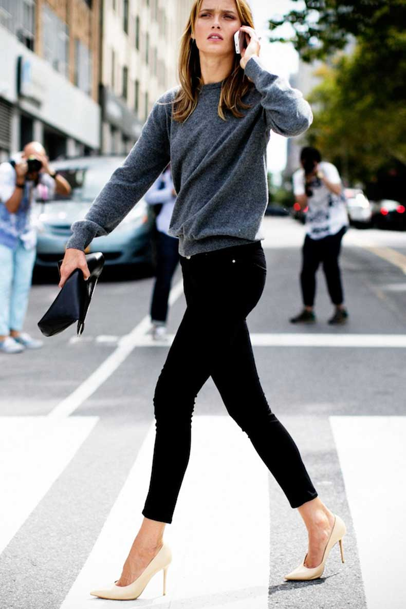 Le-Fashion-Blog-Model-Off-Duty-New-York-City-Street-Style-Karmen-Pedaru-Grey-Sweater-Black-Skinny-Jeans-Cream-Heels-Via-Vincenzo-Grillo