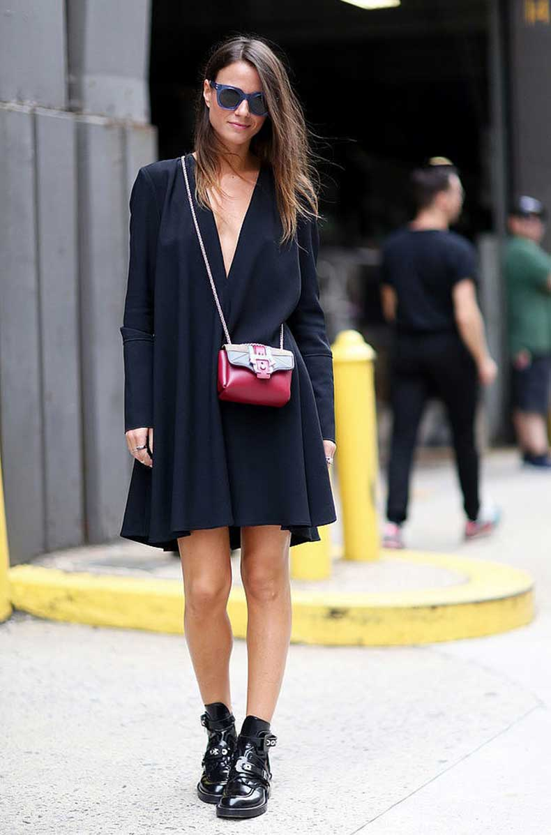 Le-Fashion-Blog-Street-Style-Blue-Sunglasses-Plunge-Neck-Proenza-Schouler-Little-Black-Dress-Mini-Bag-Balenciaga-Boots-Popsugar-1