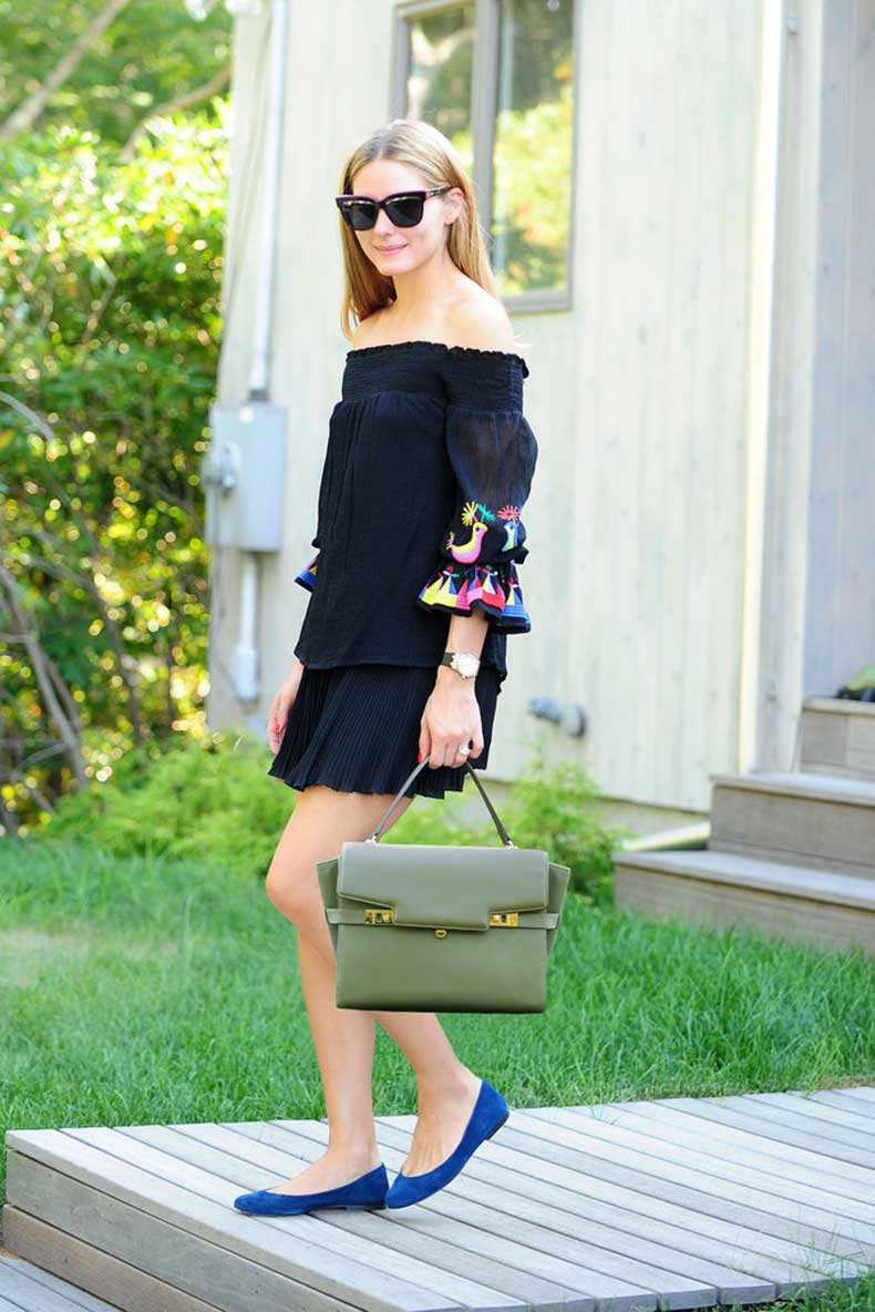 Make-Fun-Printed-Dress-Feel-Sophisticated-Leather-Bag
