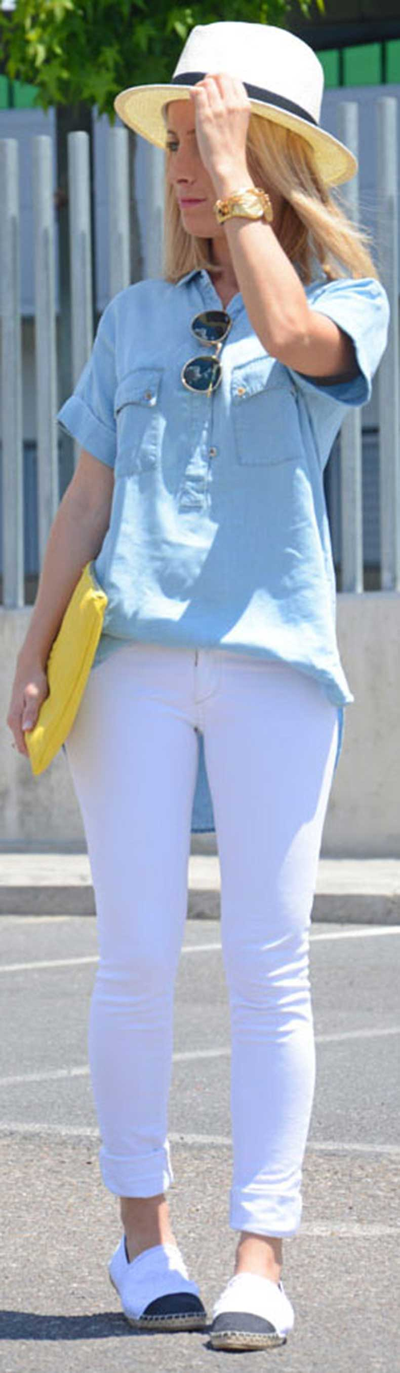 White-Jeans-Short-Sleeve-Denim-Shirt-Outfit