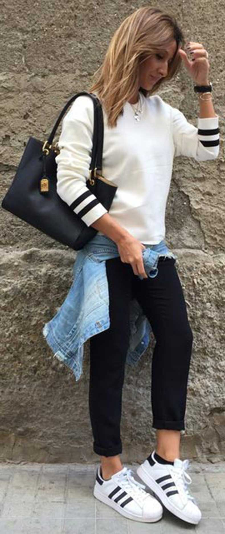 White-Sweater-Black-Trousers-Casual-Spring-Outfit