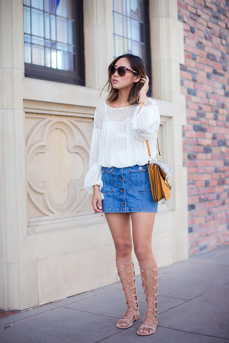 aimee_song_button_Down_denim_skirt_lace_up_gladiator_sandals