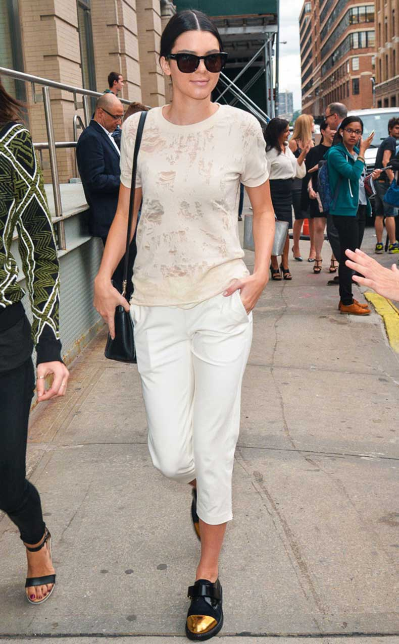 dressy-top-and-metallic-shoes-Kendall-Jenner