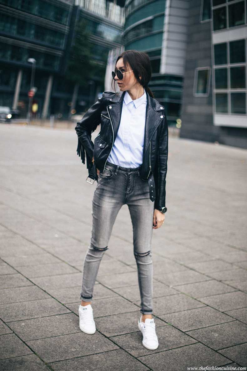 missguided-fringe-leather-jacket-forever-21-ripped-knee-jeans-Adidas-Stan-Smith-sneakers-blue-striped-shirt-street-style-5