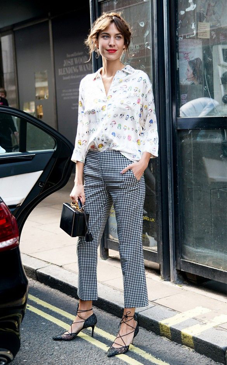 printed-gingham-pants-printed-shirt-mixed-prints-alexa-chung-box-bag-via-whowhatwear
