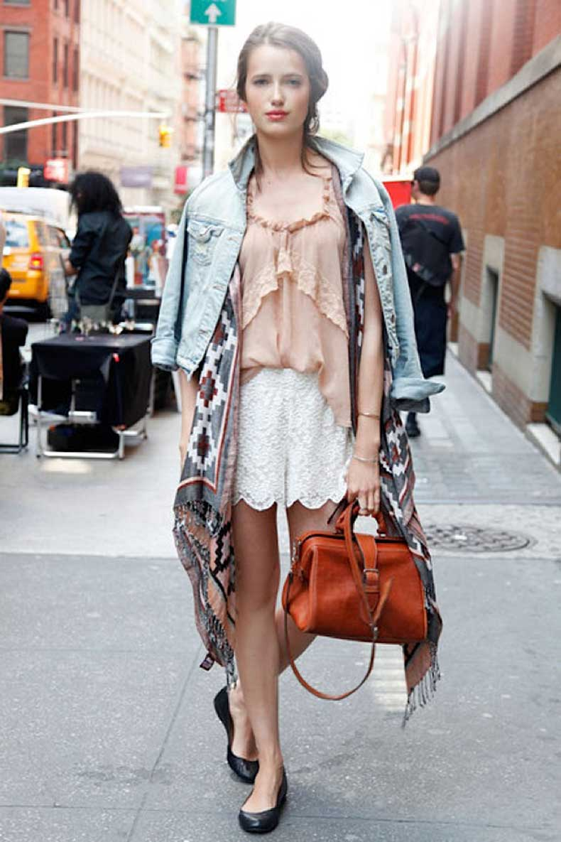 street-style-summer-layers-denim-jacket-print-scarf-loose-flowy-top-lace-shorts-cross-body-bag-ballets-flats-via-elle-magazine