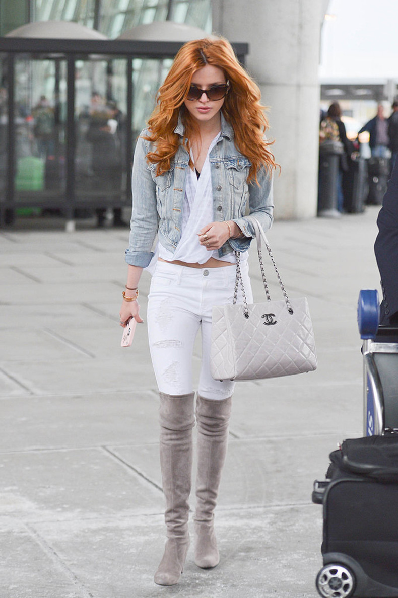 Bella-Thorne-suede-pair-lent-seasonal-twist-white-jeans