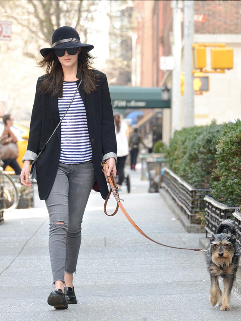 Dakota-Johnson-Waking-Dog-Hat-Blazer