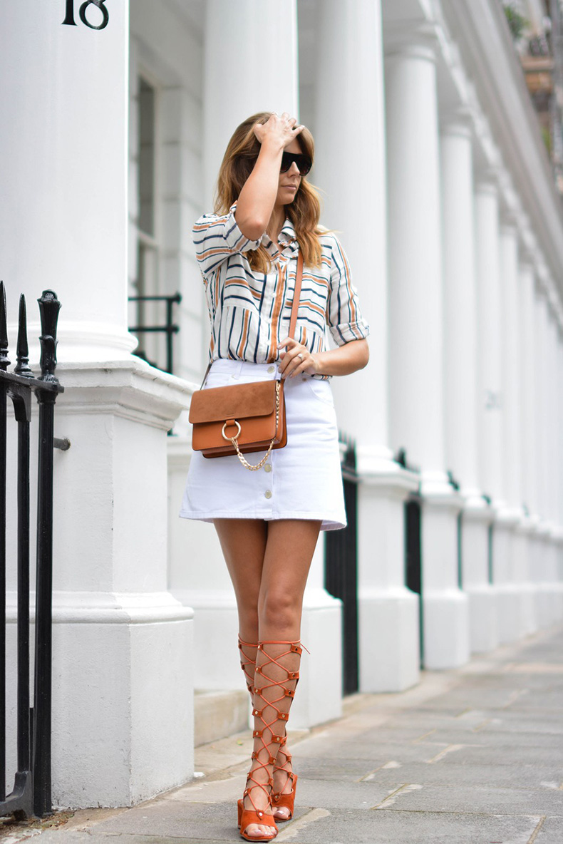 EJSTYLE-wears-Chloe-style-Tan-lace-up-gladiator-wedge-sandals-White-button-up-denim-mini-skirt-retro-stripe-shirt-Tan-suede-leather-chloe-style-Faye-bag-OOTD-london-street-style