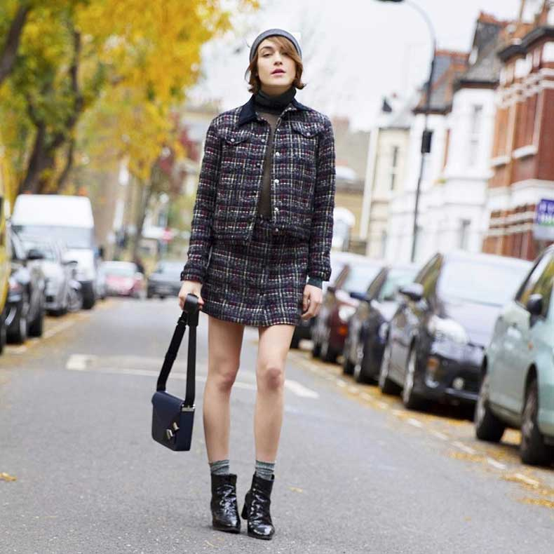 Give-Preppy-Tweed-Skirt-Suit-Modern-Twist-Pairing-Turtleneck-Hat-Booties