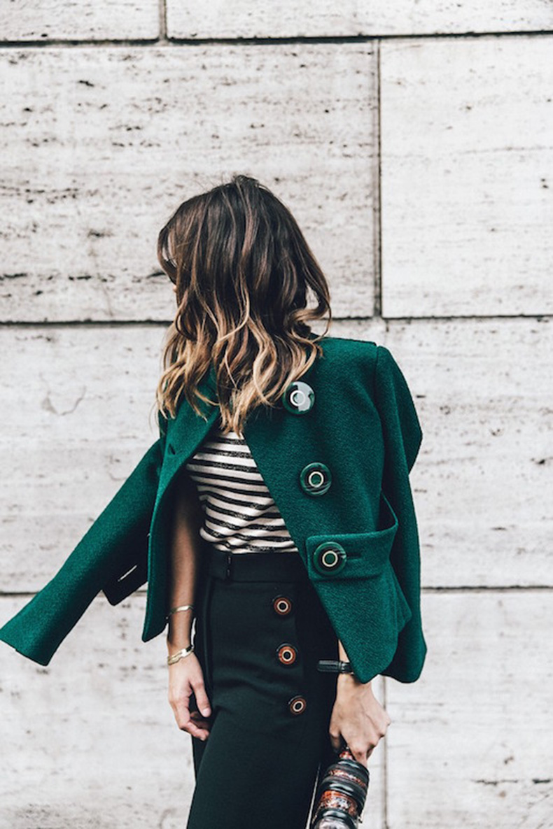 Le-Fashion-Blog-Ways-To-Wear-Green-Coat-Fall-Winter-Street-Style-Boucle-Button-Jacket-Stripe-Shirt-High-Waist-Pants-Via-Collage-Vintage