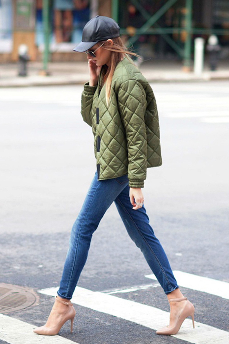 Le-Fashion-Blog-Ways-To-Wear-Green-Coat-Fall-Winter-Street-Style-Leather-Cap-Quilted-Bomber-Jacket-Cropped-Jeans-Ankle-Strap-Heel-Via-WeWoreWhat