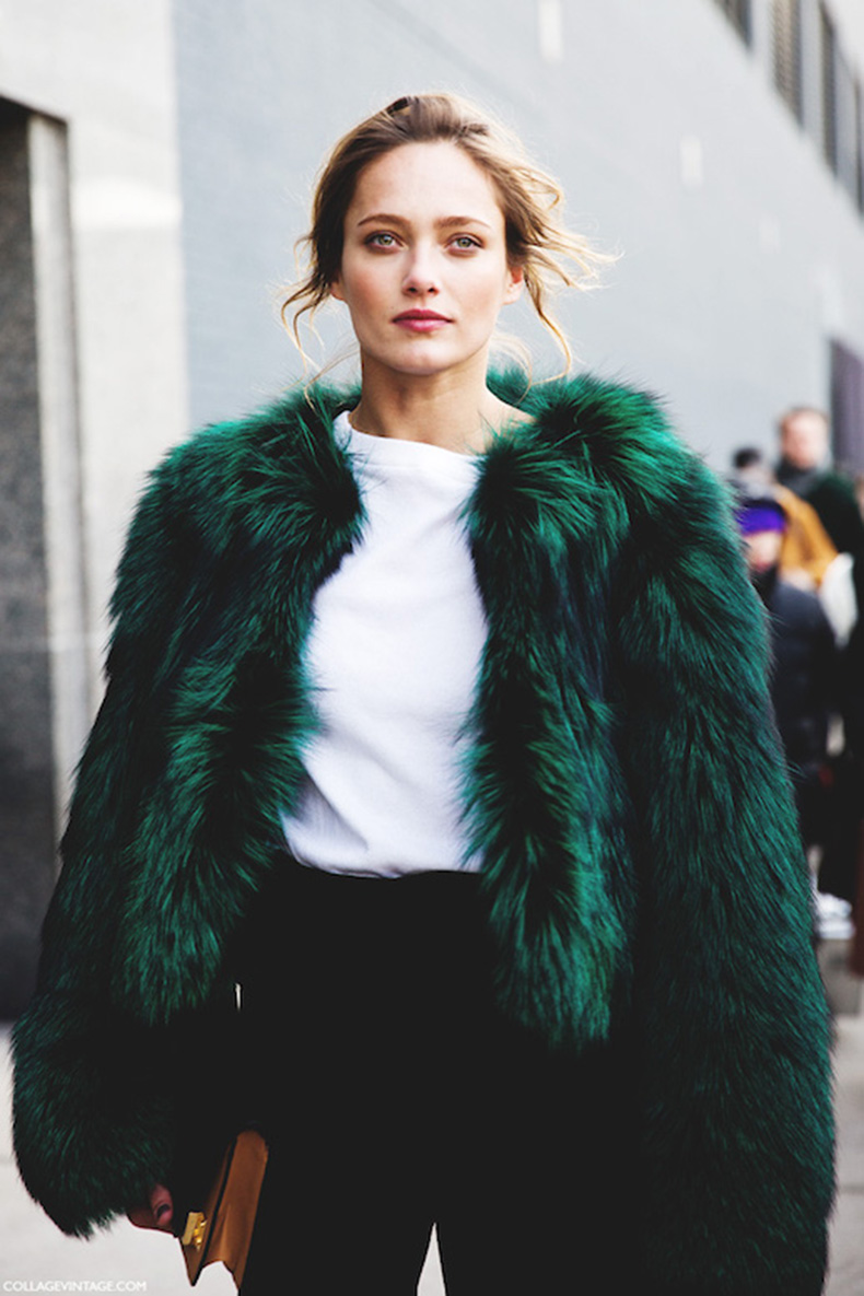 Le-Fashion-Blog-Ways-To-Wear-Green-Jacket-Coat-Fall-Winter-Street-Style-Cropped-Oversized-Fur-White-Tee-High-Waist-Pants-Via-Collage-Vintage