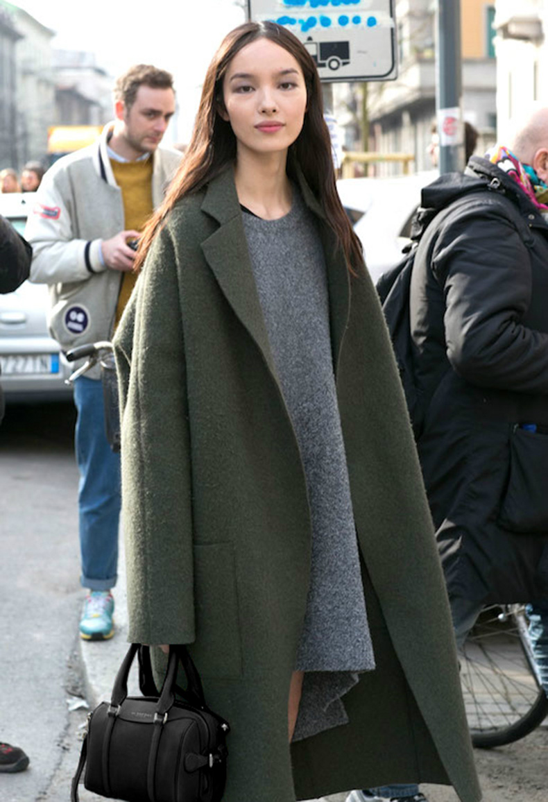 Le-Fashion-Blog-Ways-To-Wear-Green-Jacket-Coat-Fall-Winter-Street-Style-Oversized-Wool-Blend-Grey-Sweater-Dress-Via-The-Impressi