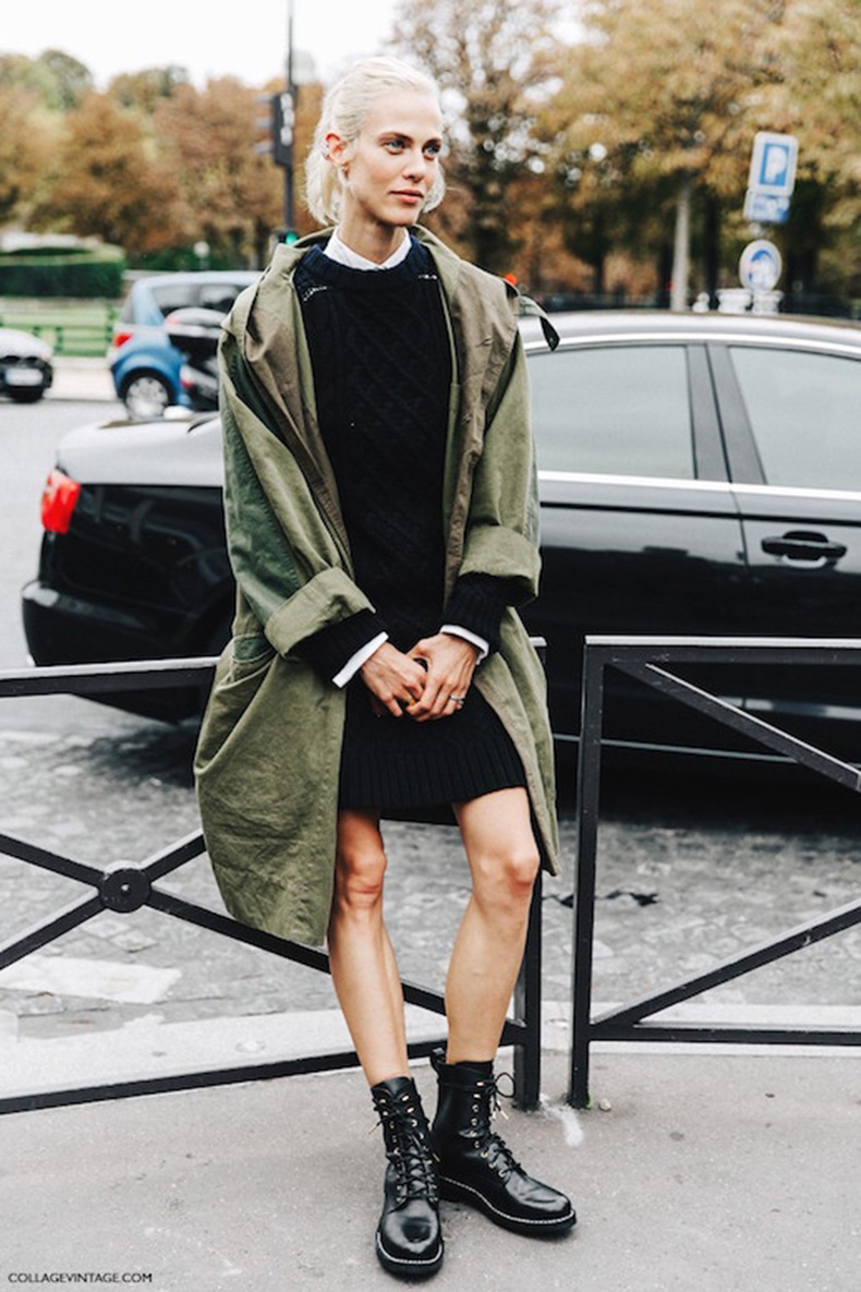 Le-Fashion-Blog-Ways-To-Wear-Green-Jacket-Coat-Fall-Winter-Street-Style-Sweaterdress-Leather-Combat-Boots-Via-Collage-Vintage