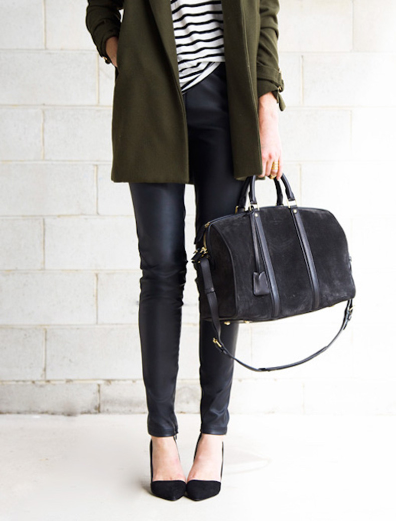 Le-Fashion-Blog-Ways-To-Wear-Green-Jacket-Fall-Winter-Blogger-Style-Coat-Stripe-Tee-Leather-Pants-Suede-Bag-Pointed-Heels-Via-Oracle-Fox