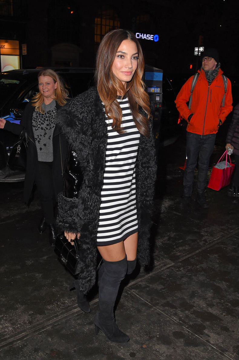 Lily-Aldridge-added-flair-classic-striped-dress-hers
