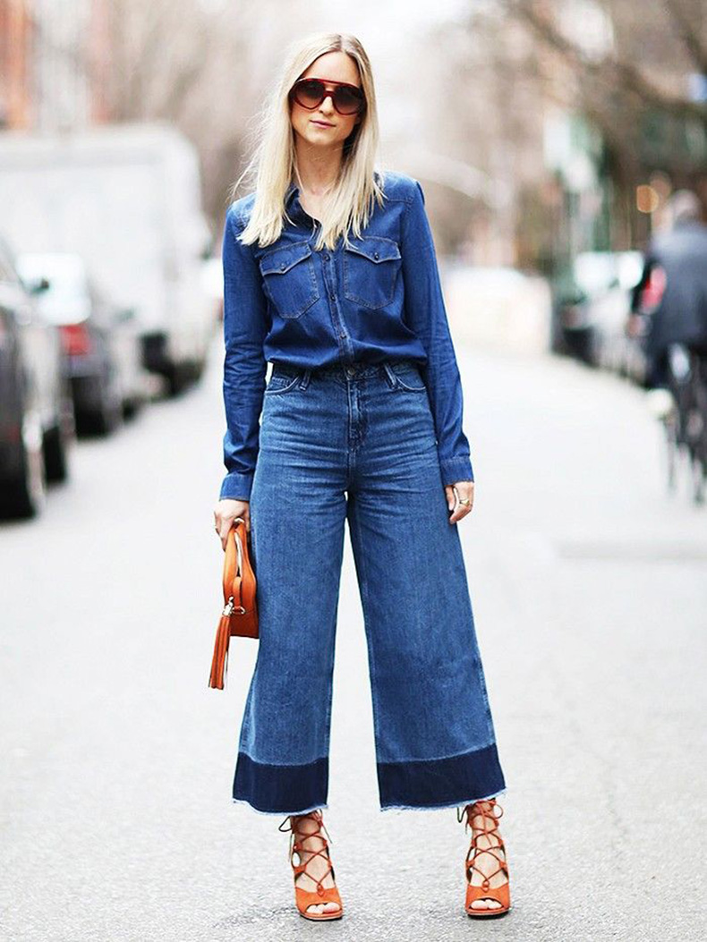 double-denim-flared-denim-frayed-jeans-sandals-denim-shirt-via-www