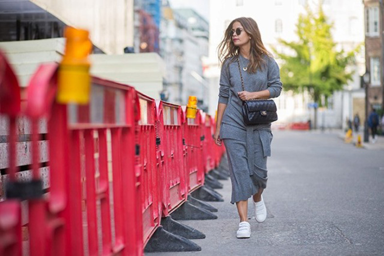 fall-sweater-dress-tie-waist-sneakers-grey-all-grey-white-sneakers-lfw-street-style-via-who-what-wear-640x427