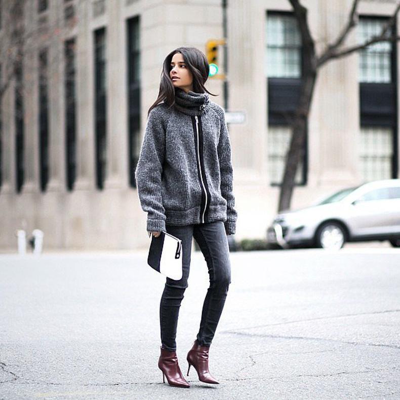 grey-monochromatic-groutfits-burgundy-booties-zipper-sweater-coat-instagram-hauteinhabit