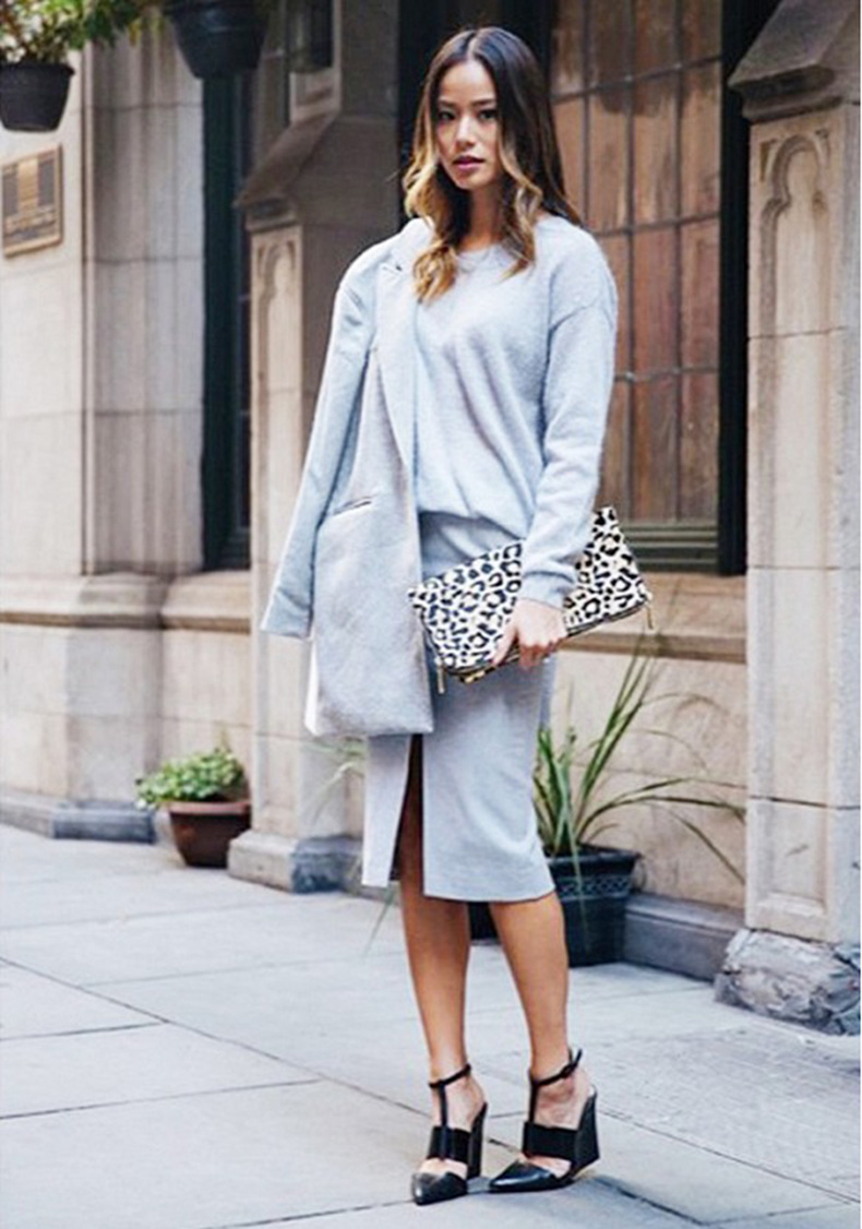 grey-pencil-midi-skirt-animal-print-clutch-grey-sweater-grey-coat-monochromatic-grey-wedges-via-jamiejchung-whatthechung