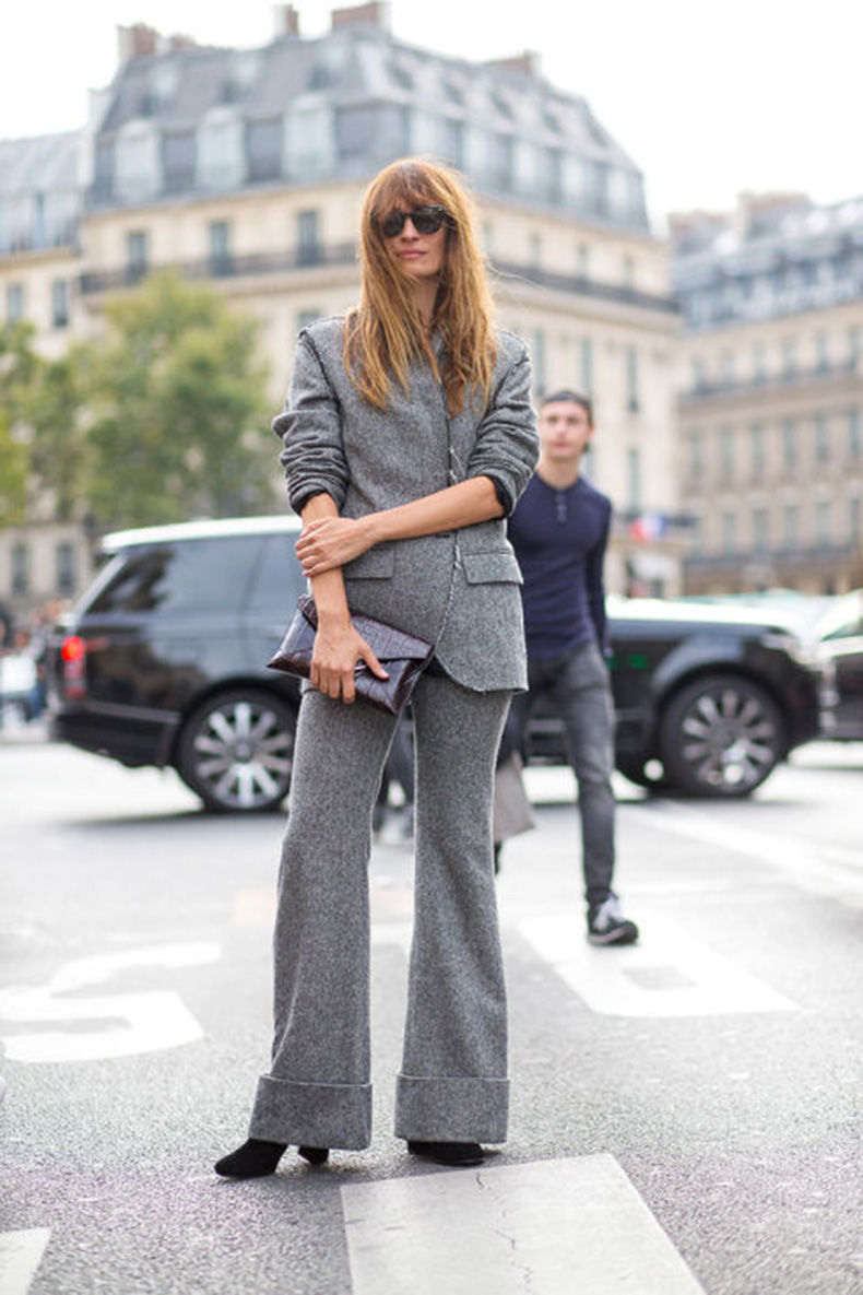 paris-fashion-week-street-style-hbz-grey-suit-gray-cuffed-pants-wide-leg-pants-monochromatic-caroline-de-maigret