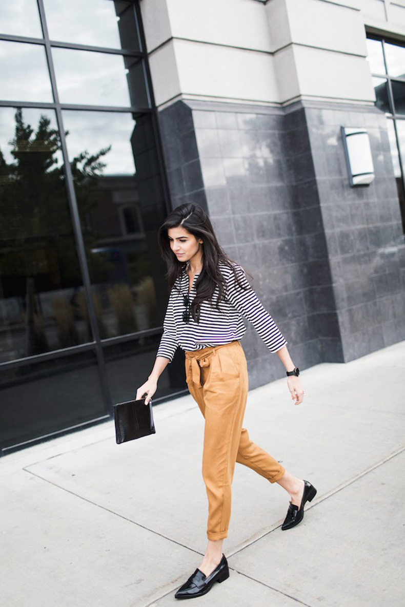 simply-hued-stripes-camel-pants-black-pointy-loafers