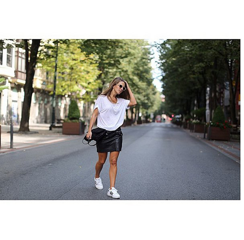 Mixed-Sleek-Leather-Skirt-Adidas-Sneakers