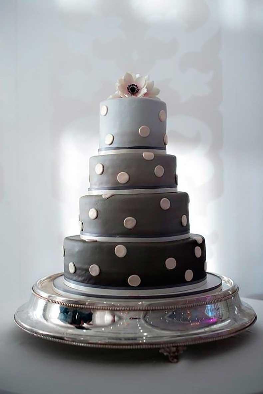Ombré-gray-tiers-modernize-cake-polka-dot-detail