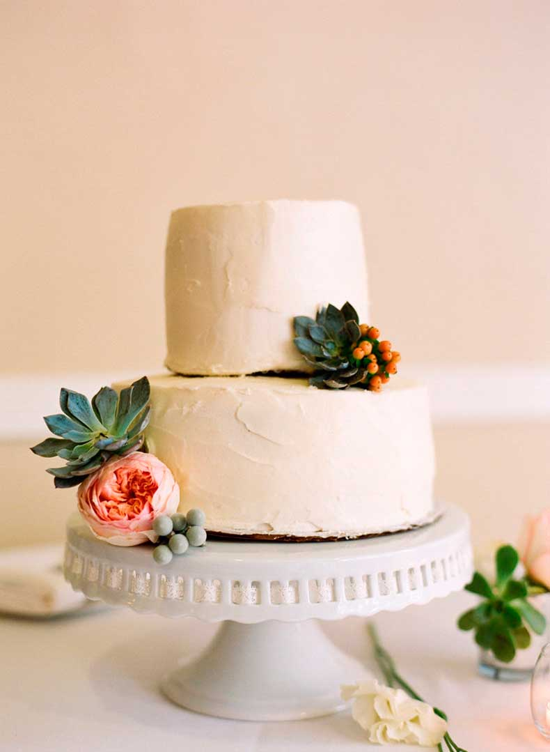 We-love-how-succulents-instantly-take-simple-two-layer-cake