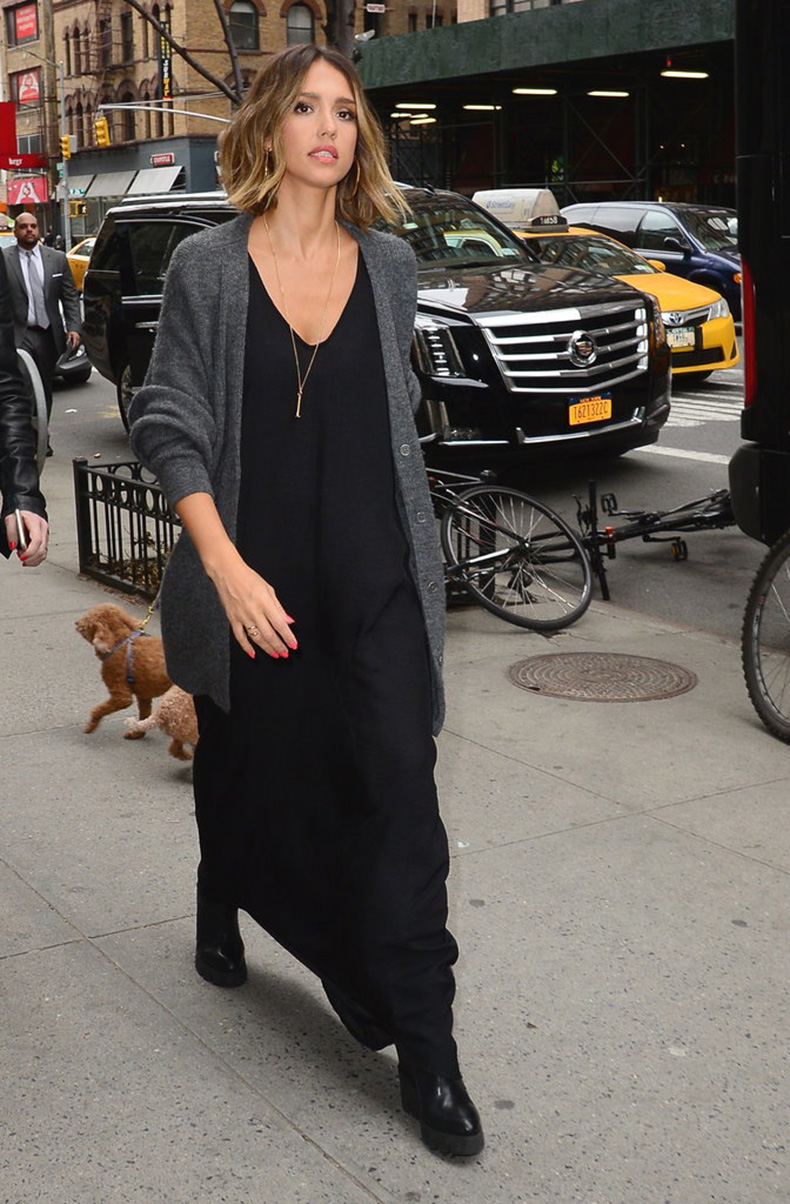 grandpa-cardigan-black-maxi-dress-pendant-necklace-fall-booties-transitional-dressing-day-to-night-night-to-day-dressing-evening-to-day-dressing-summer-to-fall-jessica-alba-getty