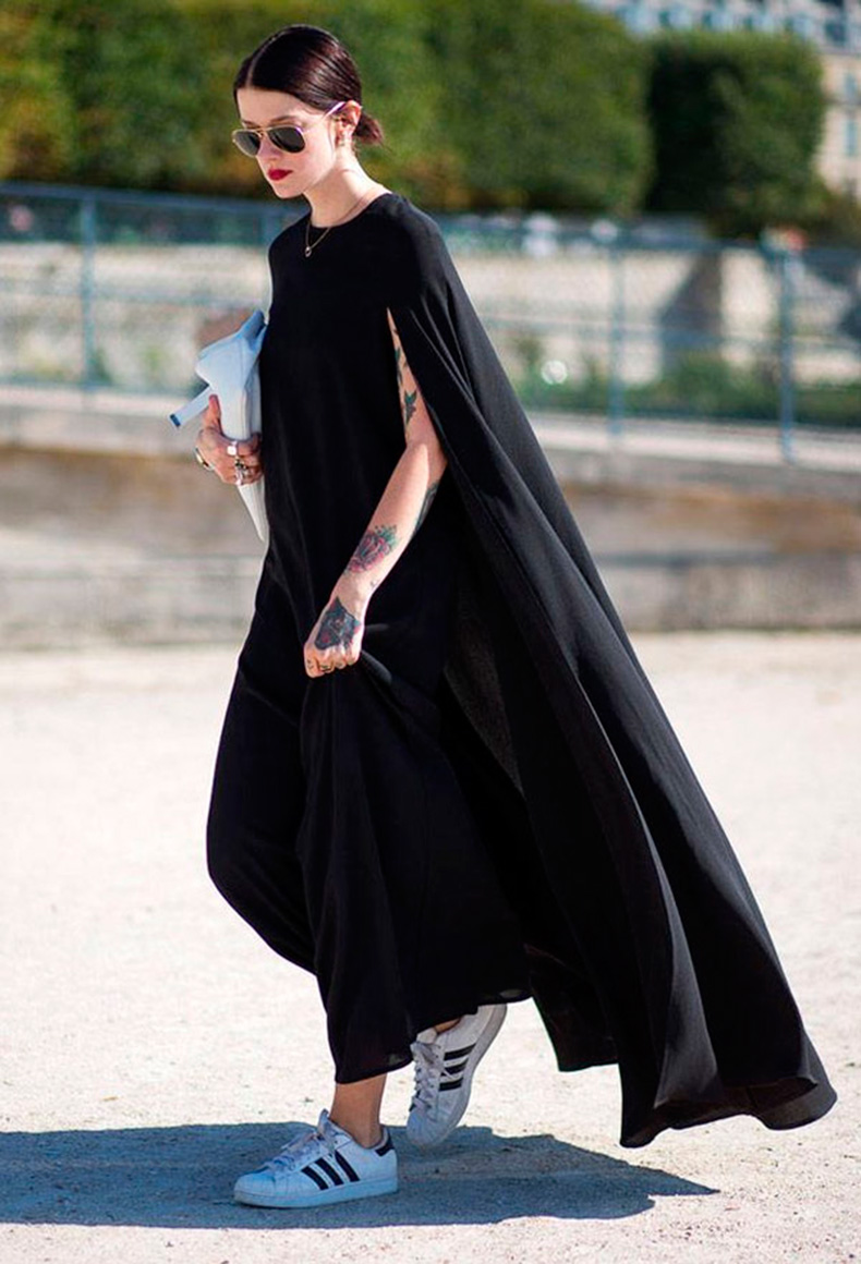 street-style-adidas-long-black-dress