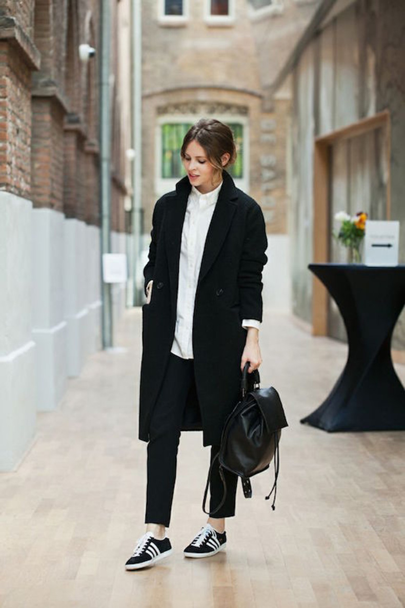 Le-Fashion-Blog-25-Ways-To-Wear-Adidas-Sneakers-Black-Coat-Button-Town-Pants-Leather-Backpack-Gazelle-Christine-Reehorst-Via-Fash-N-Chips