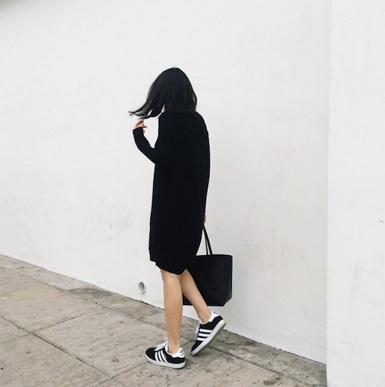 Le-Fashion-Blog-25-Ways-To-Wear-Adidas-Sneakers-Black-Sweater-Dress-Toe-Bag-Black-With-White-Stripes-Instagram-Via-Andy-Heart