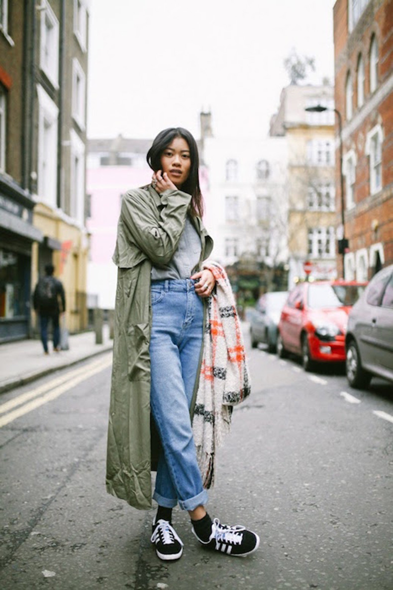 Le-Fashion-Blog-25-Ways-To-Wear-Adidas-Sneakers-Green-Trench-Coat-High-Waist-Boyfriend-Jeans-Gazelle-Via-I-Dress-Myselff