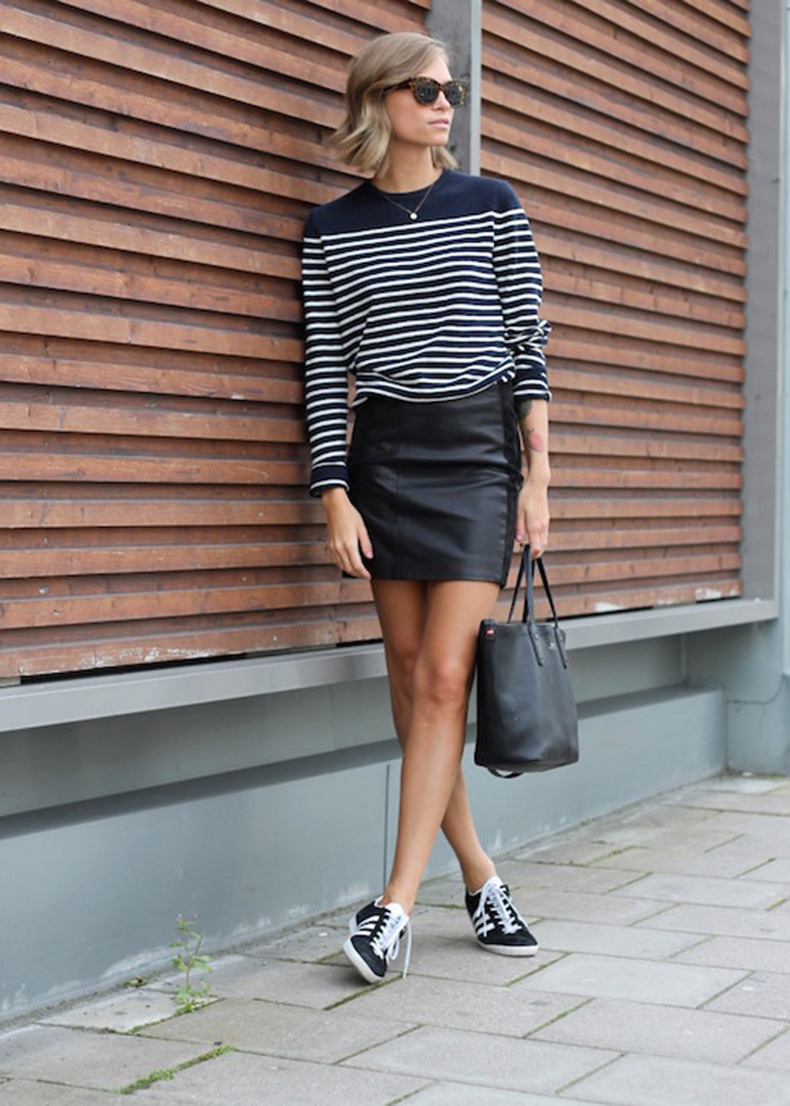 Le-Fashion-Blog-25-Ways-To-Wear-Adidas-Sneakers-Striped-Sweater-Leather-Mini-Skirt-Black-And-White-Tine-Andrea-Via-The-Fashion-Eaters