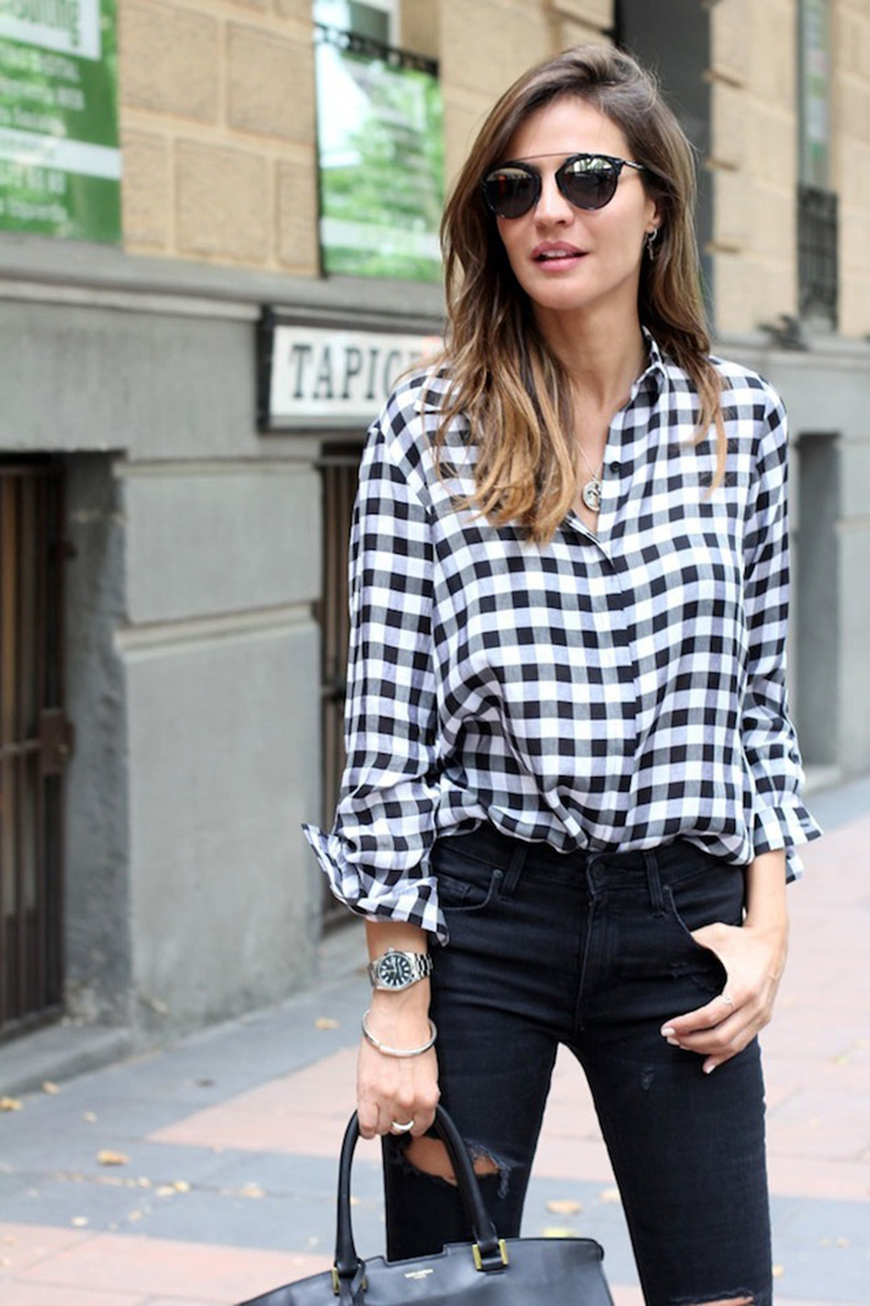 Le-Fashion-Blog-How-To-Wear-Gingham-Shirt-Blogger-Style-Black-Ripped-Jeans-Dior-Sunglasses-Silver-Watch-Via-Lady-Addict
