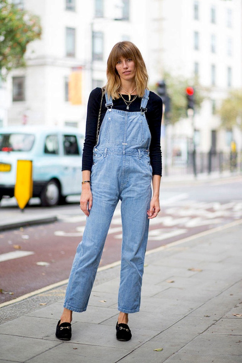 Le-Fashion-Blog-London-Street-Style-Veronika-Heilbrunner-Bangs-Denim-Overalls-Suede-Gucci-Loafers-Via-Harpers-Bazaar