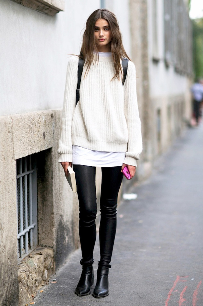 Le-Fashion-Blog-Model-Off-Duty-Milan-Street-Style-Taylor-Marie-Hill-Long-Wavy-Hair-Sweater-Backpack-Leather-Pants-Boots