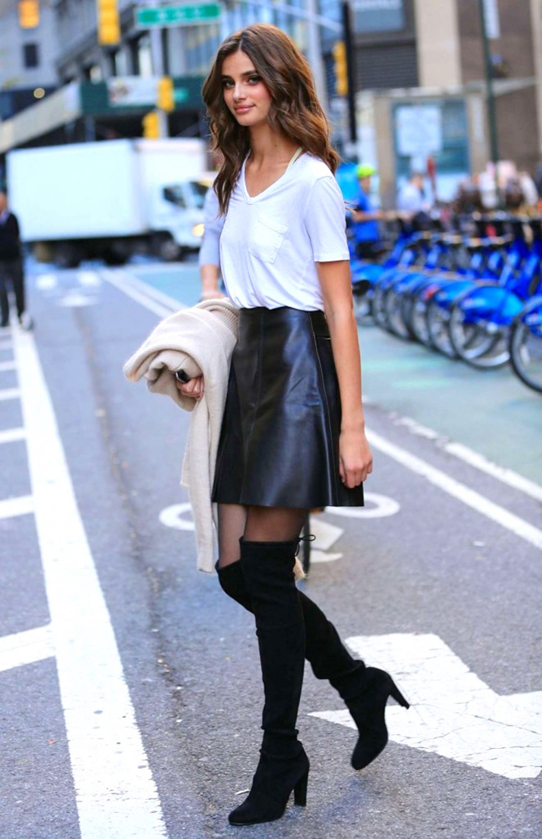 Le-Fashion-Blog-Model-Taylor-Hill-Style-White-Tee-High-Waist-Leather-Skirt-Sheer-Tights-Heeled-Suede-Lace-Back-Over-The-Knee-Boots-Via-Got-Celeb_1
