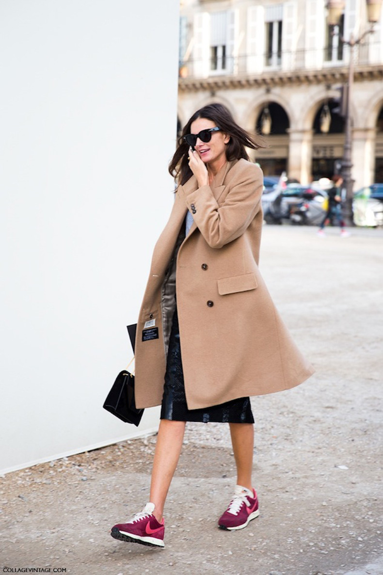 Le-Fashion-Blog-Paris-Street-Style-Camel-Coat-Black-Midi-Skirt-Red-Nike-Sneakers-Casual-Cool-Sport-Via-Collage-Vintage