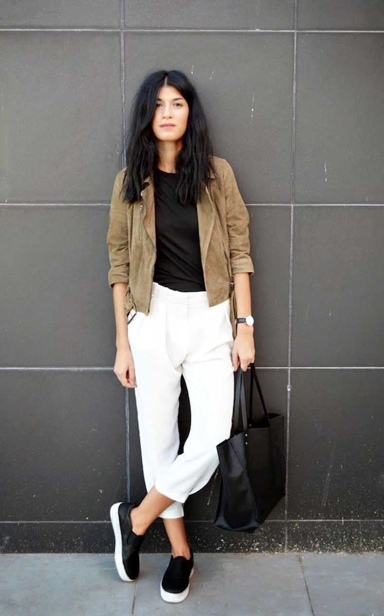 Le-Fashion-Blog-Spring-Style-Tan-Suede-Moto-Jacket-Round-Watch-Cropped-White-Pants-Black-Slip-On-Sneakers-Via-The-Blossom-Girls