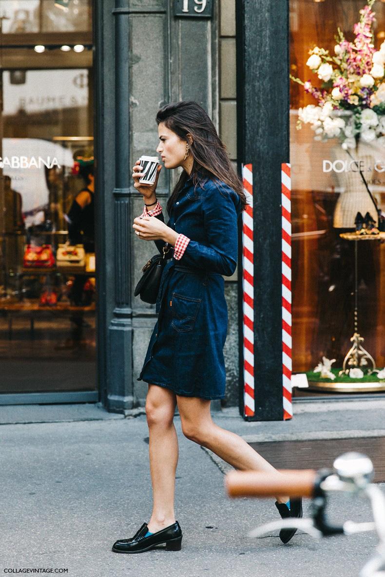MFW-Milan_Fashion_Week-Spring_Summer_2016-Street_Style-Say_Cheese-Alexandra_Codihna-Denim_Dress-Loafers--790x1185