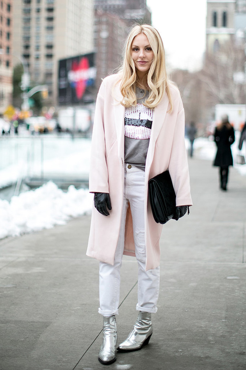 Silver-boots-white-pants-pastel-coat-make-icy-cool