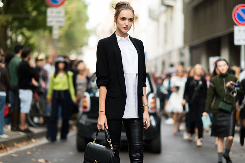 black-and-white-black-bblazer-white-oxford-shirt-black-leather-skinnies-milan-fashion-week-elle