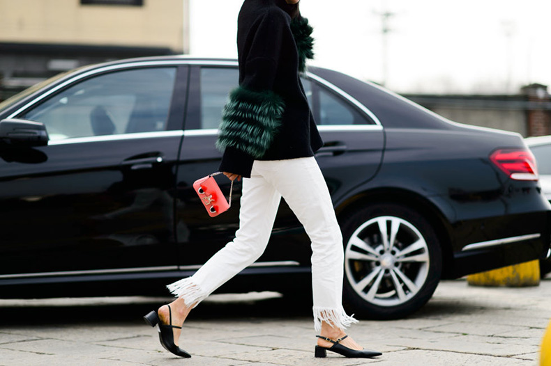 fur-sweater-fur-sleeves-slinbacks-block-heels-bloch-frayed-denim-white-jeans-in-winter-milan-fashion-week-street-style-elle