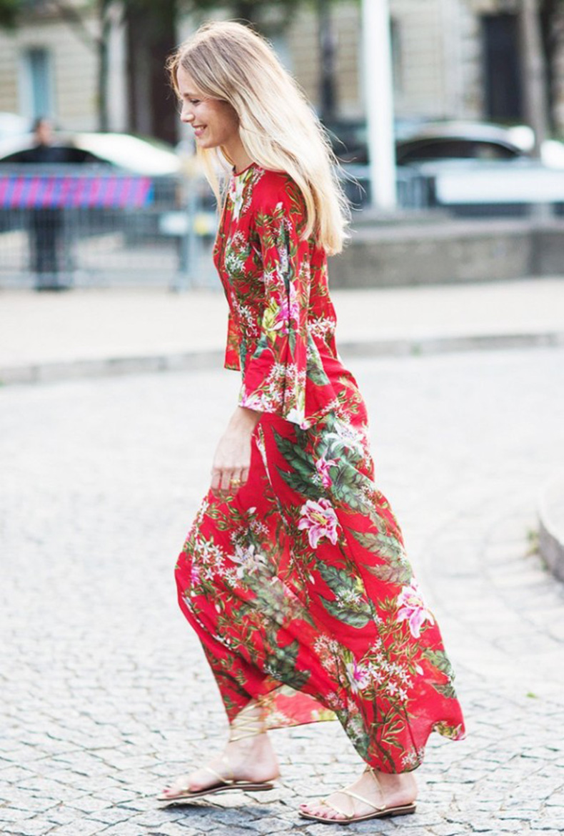 maxi-dress-red-floral-dress-gold-gladiator-sandals-via-a-love-is-blind-640x948