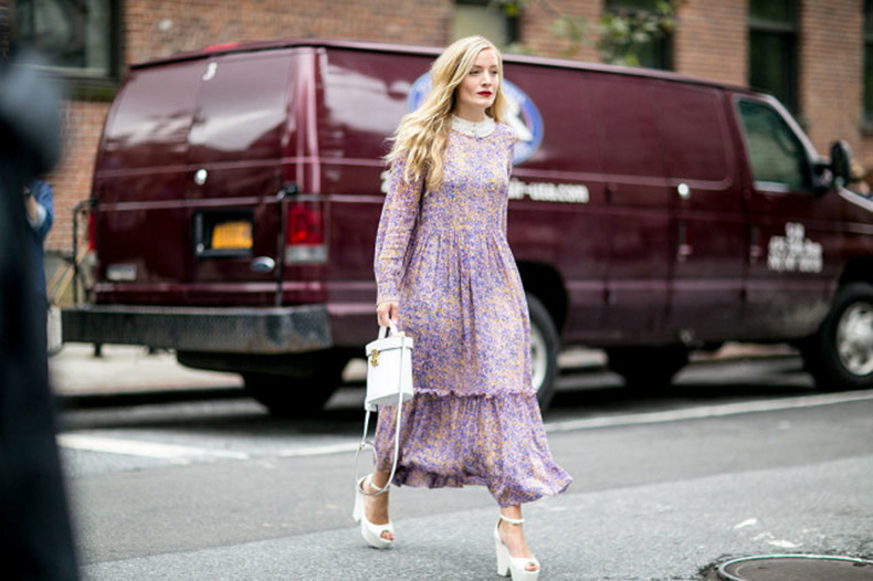 nyfw-printed-dress-70s-boho-dress-platform-wedges-kate-foley-white-shoes-heels-white-purse-kate-foley-via-popsugar-640x426